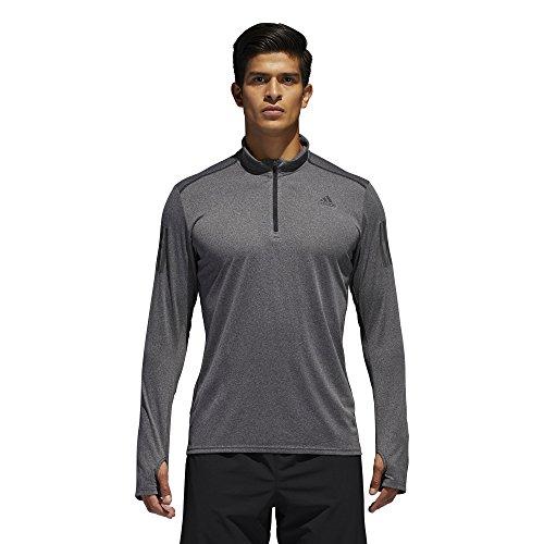adidas Men's Running Response Long Sleeve Zip Tee, Black, Large