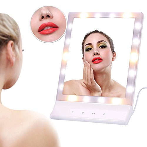 LED Lighted Vanity Mirror, Dimmable Light Vanity 90° Rotating Touch Screen Tabletop Illuminated Make up Mirror (White)