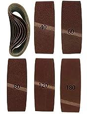 20 stuks gemengde weefsel-schuurbanden voor bandschuurmachines 75 x 533 mm, korrel elk 4 x 40/60/80/120/180
