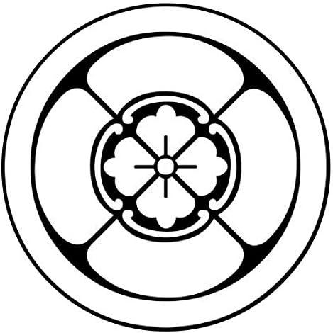 家紋シール 「丸に四方木瓜」6枚入 男性紋・女性紋・子供サイズ・黒地用・白地用 貼付け家紋 着物用 KOM197