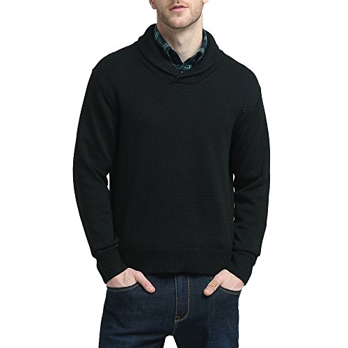 Kallspin Mens Relaxed Fit Shawl Collar V Neck Sweater Merino Wool Blend Thick and Solid (Black, L) ()