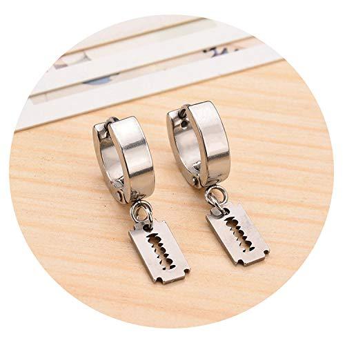 (Black Silver Razor Blade Dangle Earrings Round Hollow Heart Drop Hip Hop Drop Earrings Female Club Gift Jewelry Accessories,Silver Plated)