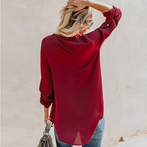 Sweat Col shirt T Rouge Blouses xxxl Taille Tunique s Unie Grande Chemise Femme V En Guesspower Top Page Chemisier Amazon Vin Manches Tops Longues Du Couleur Mode Detail shirt view Uvnxq1w5d