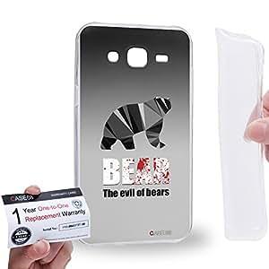 Case88 [Samsung Galaxy J5] Gel TPU Carcasa/Funda & Tarjeta de garantía - Art Hand Drawing The Evil Black Hipster Bear 2161