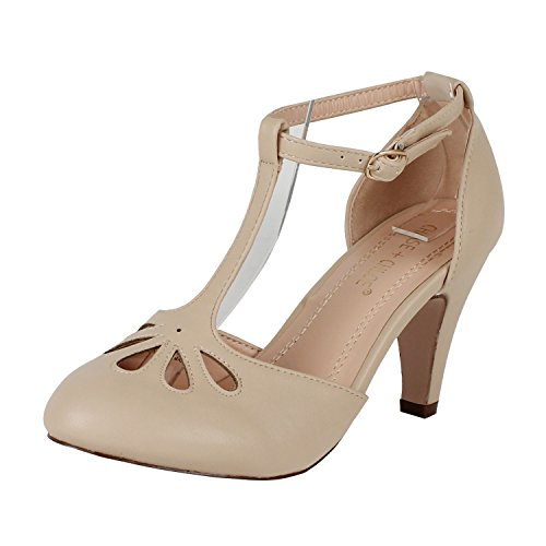 Chase & Chloe Kimmy-36 Women's Teardrop Cut Out T-Strap Mid Heel Dress Pumps (10, Nude PU)
