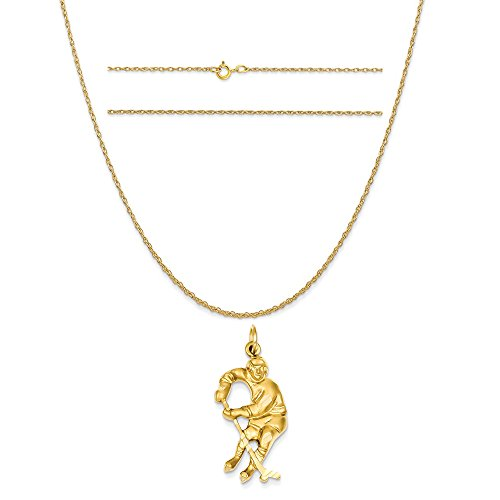14k Yellow Gold Hockey Player Charm on a 14K Yellow Gold Carded Rope Chain Necklace, 16