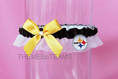 Customizable - Pittsburgh Steelers fabric handmade into bridal prom organza wedding thin garter TNT