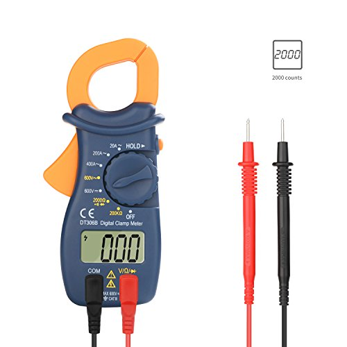 Digital Clamp Meter, Jellas DT-306 Digital Clamp Meter Multimeter TRMS 2000 Counts with DC/AC 600V Voltage, AC 400A Current, Resistance, Diode and Earth Ground Continuity Test Tester