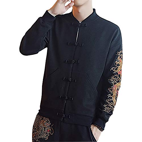 Men's Embroidered Dragon Stand Collar Jacket Chinese Style Vintage Slim Fit Top - Print Dragon Top Oriental