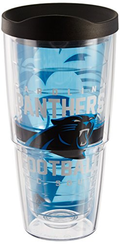 Tervis 1180532 NFL Carolina Panthers Gridiron Tumbler with Wrap and Black Lid 24oz, Clear