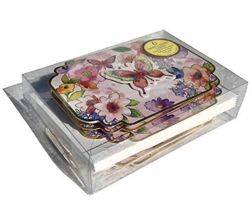 Punch Studio Watercolor Pink Butterfly Garden Small Die-Cut Embellished Dimensional Note Cards 60079, 6 ct