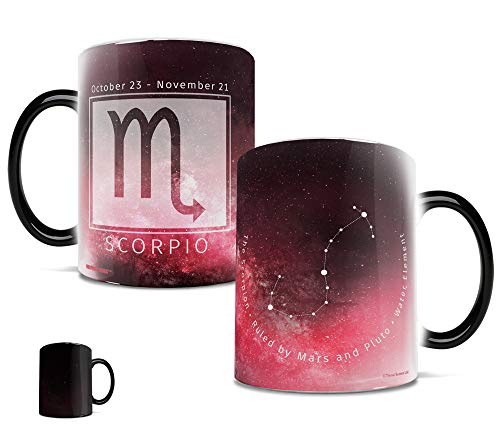 (Morphing Mugs Birthday Zodiac Sign (Scorpio) Heat Reveal Ceramic Coffee Mug - 11 Ounces Dark Red)