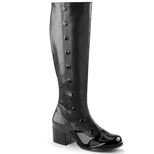 Womens Black Spats Inspired 2 Inch Low Heels Boots with Button Trim Size: 9 (Spat Boots)