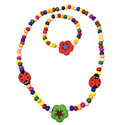 Kids Wooden Ladybug and Flower Necklace and Bracelet Set - Spinnaker Collection - Girls love bead accessories.