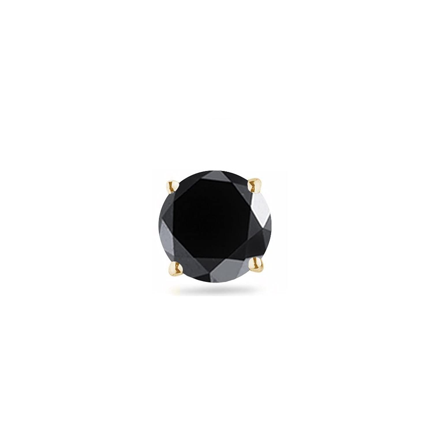 0.09-0.12 Cts of 2.50-3.00 mm AA Round Black Diamond Mens Stud Earring in 14K Yellow Gold