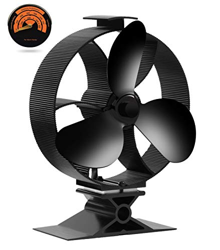 Chekue Wood Stove Fan with Thermometer, 3 Blades Heat Powered Stove Fan for Pellet/Wood Burning Stove/Log Burner, Ultra Quiet, Eco Friendly & Efficient Heat Distribution