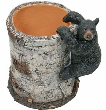 (Black Bear Cub Climbing a Birch Pen Pencil Holder Cup, 4.25-inch)