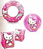 Intex'Hello Kitty Kids Accessories Swimming Set - Set Includes: Swim Ring (Tube), Pair of Deluxe Arm Bands Tube and Beach Ball - for Kids Ages 3-6