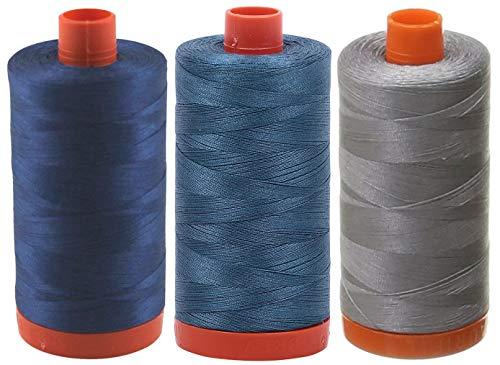 (3-Pack - Aurifil 50WT - Grey + Smoke Blue + Medium Delft Blue, Solid - Mako Cotton Thread - 1422Yds Each)