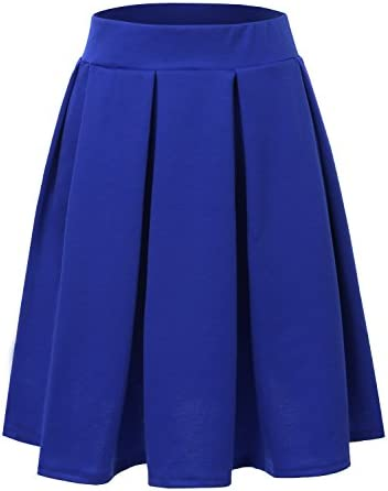 fc7397bf4b4ae Doublju Elastic Waist Flare Pleated Skater Midi Skirt For Women With Plus  Size
