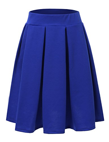 Doublju Elastic Waist Flare Pleated Skater Midi Skirt (Plus size available) ROYAL SMALL (Sexy Blue Pleated Skirt)
