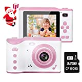 Kids Camera, 8.0MP Creative Digital Dual Camera, Rechargeable Children Camcorder with 2.8'' Touch Screen, 4X Digital Zoom, Gift for 3-12 Years Old Girls Boys Party Outdoor, Pink(32GB TF Card Included)