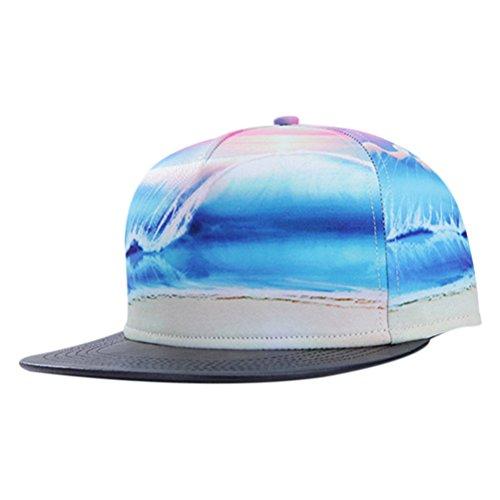 So'each Unisex 3d Galaxy Starry Ocean Print Pu Flatbill Visor Snapback Cap Baseball Hat