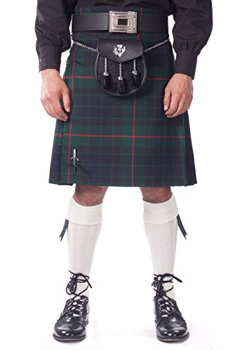 Kilt Society Mens 7 Piece Semi Dress Kilt Outfit- Gunn Tartan with White Hose 30'' to 34'' by Kilt Society