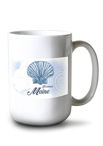 Lantern Press Portland, Maine - Scallop Shell - Blue - Coastal Icon (15oz White Ceramic Mug)