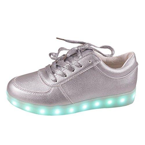 (Present:kleines Handtuch)JUNGLEST® Unisex-Erwachsene LED Leuchtende Turnschuh Silber
