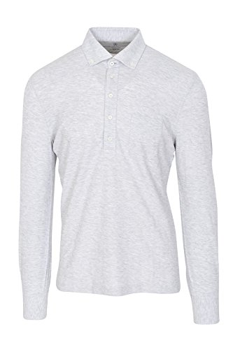 Brunello Cucinelli Polo Poloshirt Herren Grau Slim Fit Baumwolle Casual S