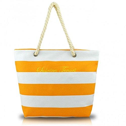 Summer con Spiaggia modello Fair Lunghi Corda arancio Manici Borsa Mare NAVY in 1F6qpzw