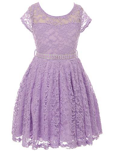 Lavender Stone - Big Girls' Illusion Floral Lace Top Stone Belt Easter Flower Girl Dress Lavender 14 (J19KS88)