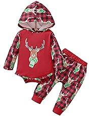 الرضع طفل بنين بنات عيد الميلاد الغزلان المطبوعة منقوشة هوديي رومبير ارتداءها + السراويل تتسابق 0-24 متر (Color : Red, Size : 9M)