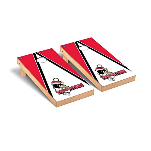 (Victory Tailgate Regulation Collegiate NCAA Triangle Series Cornhole Board Set - 2 Boards, 8 Bags - Youngstown State Penguins)