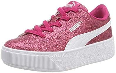 Puma Girls Vikky Platform Glitz AC PS Low-Top Sneakers, Beetroot Purple White Silver, 12 UK,366858