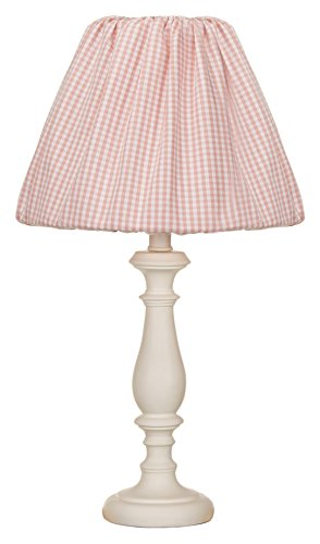 (Glenna Jean Cottage Collection Rose White Lamp w Pink Gingham Shade )