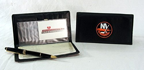(NHL New York Islanders Embroidered Genuine Cowhide Leather Checkbook Cover)