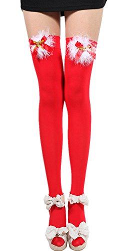 適用する無能突然のQingyuanレディース用セクシーリボンクリスマスKnee Highs Stockings