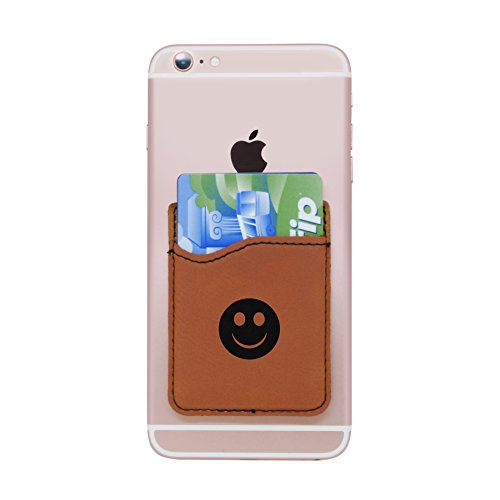 Modern Goods Shop Brown Self-Adhesive Wallet with Laser Etched Smiley Face Design - Credit Card Pocket for 3 Cards - Fits Most Smartphones ()