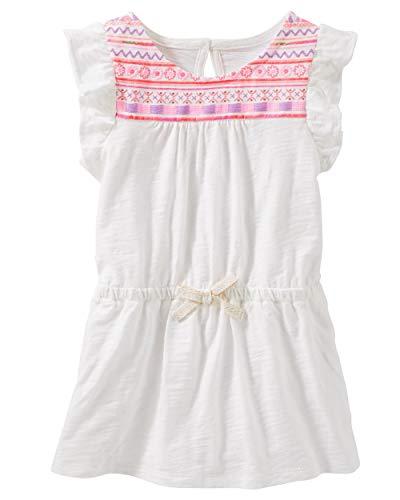 Osh Kosh Girls' Kids Short-Sleeve Knit Tunic, Ivory, 10