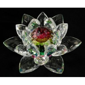 Amlong Crystal Hue Reflection Crystal Lotus Flower with Gift Box, Rainbow (3-Inch)