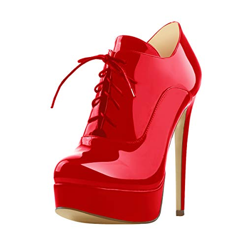 (Onlymaker Women's Sexy High Heel Platform Ankle Bootie Lace Up Stiletto Comfortable Boots Red Patent Leather 6 M US)