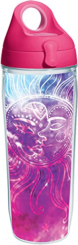 Tervis 1252298 Celestial Moon and Stars Tumbler with Wrap and Passion Pink Lid 24oz Water Bottle, Clear