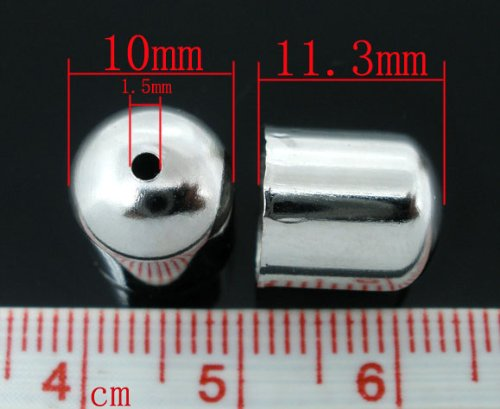 fit 9mm PEPPERLONELY 100pc Silver Tone Alloy Blunt Necklace End Tip Bead Caps 3//8 x 3//8 10x11mm ,