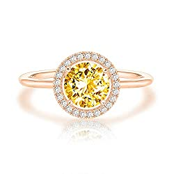 Women's White Gold Plated Birthstone Rings