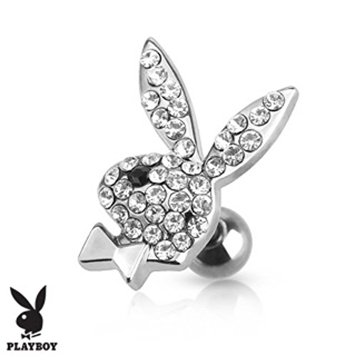 Playboy Bunny Paved Gems Cartilage/Tragus Freedom Fashion 316L Surgical Steel - Playboy Earrings Mens