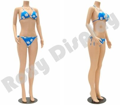 957-04F-PS ROXYDISPLAY/™ Female mannequin headless style standing pose.turnable arm Color: Fleshtone Material: High Quality Plastic