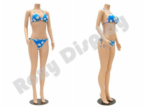 Headless Mannequin ((PS-957-04F) ROXYDISPLAY™ Female mannequin headless style, standing pose.turnable arm Color: Fleshtone, Material: Plastic)