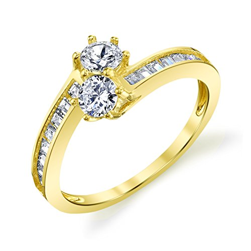 14k Yellow Gold Two Stone Couple Lover's Forever Ring Size - Forever Rings Together